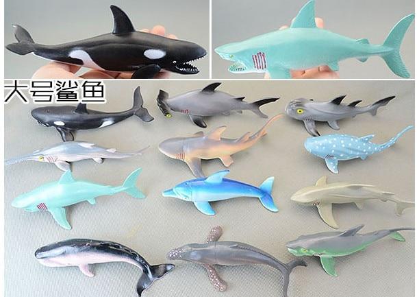 12pcs/set  14cm   shark  soft  plastic  genuine bulk marine animal model  all kinds of  shark toy gift<br>