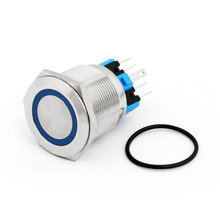 Areyourshop Push Button Switch 25mm 24V Red/Green/Blue LED Latching Push Button Switch Stainless Steel Ring For Car Switches(China)