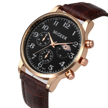 MiGEER Brand Watches for men Retro Design Analog Alloy Quartz Wrist Watch PU Leather Band Watch Reloj Mujer Free Air Mail !!!(China)