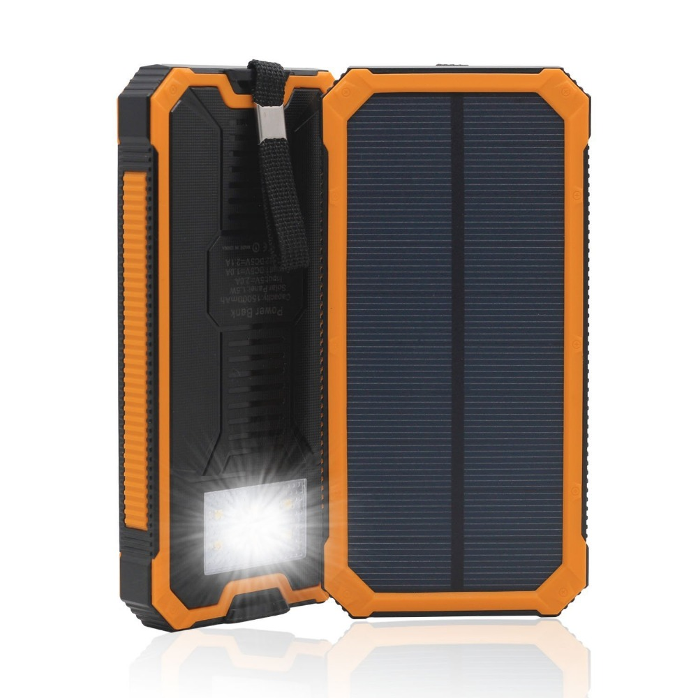 Solar Power Bank Waterproof/Shockproof/Dustproof Charger Battery Portable Mobile Powerbank 10000mah for xiaomi Iphone Smartphone(China (Mainland))