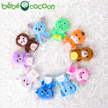 bebecocoon 10 pcs/lot Baby Plush Toy Finger Puppets Tell Story Props Animal Doll Hand Puppet Kids Toys with 10 Animal Group(China)