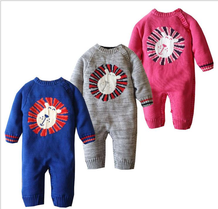 Newborn Baby Girls Boys Cartoon knitted Jumpsuit Romper Infantil knitting Outfit Sweater Suit Winter Warm Long Sleeve Rompers <br>