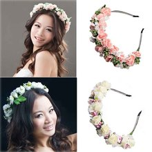 Handmade Fabric Flower Headband For Women Lady Stylish Wreath Garlands Wedding Gift Hair Band Accessories