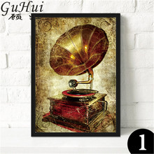 Retro Nostalgic Antique Phonograph Canvas Painting Decorative Paintings Vinyl Records Cafes Bar Wall Pictures Coffee Beans(China)