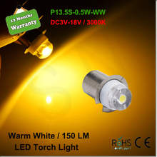 1x P13.5S PR2 0.5W LED For Focus Flashlight Replacement Bulb Torches Work Light Lamp 150Lumen Pure Whtie/Warm White DC3-18V
