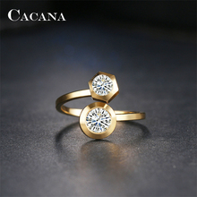 CACANA Stainless Steel Rings For Women Gold And Silver Plated Loves Cubic Zirconia Best Gift Jewelry Wholesale NO.R121 122