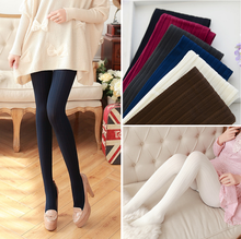 Buy W740 140D Trend Knitting High elastic tights Women's velet pantyhose fashion casual vertical stripes tights 5 Colors