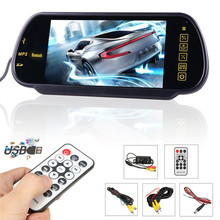 Kroak Car 7Inch TFT Screen Bluetooth MP5 Colorful LCD Mirror Monitor+Rear View Backup Camera Parking System(China)