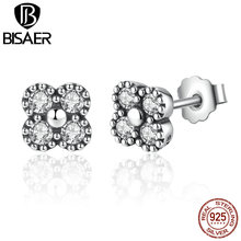 BISAER New 925 Sterling Silver Earrings Pink Silver Clear CZ Push Back Stud Earrings  Jewelry WEUS481