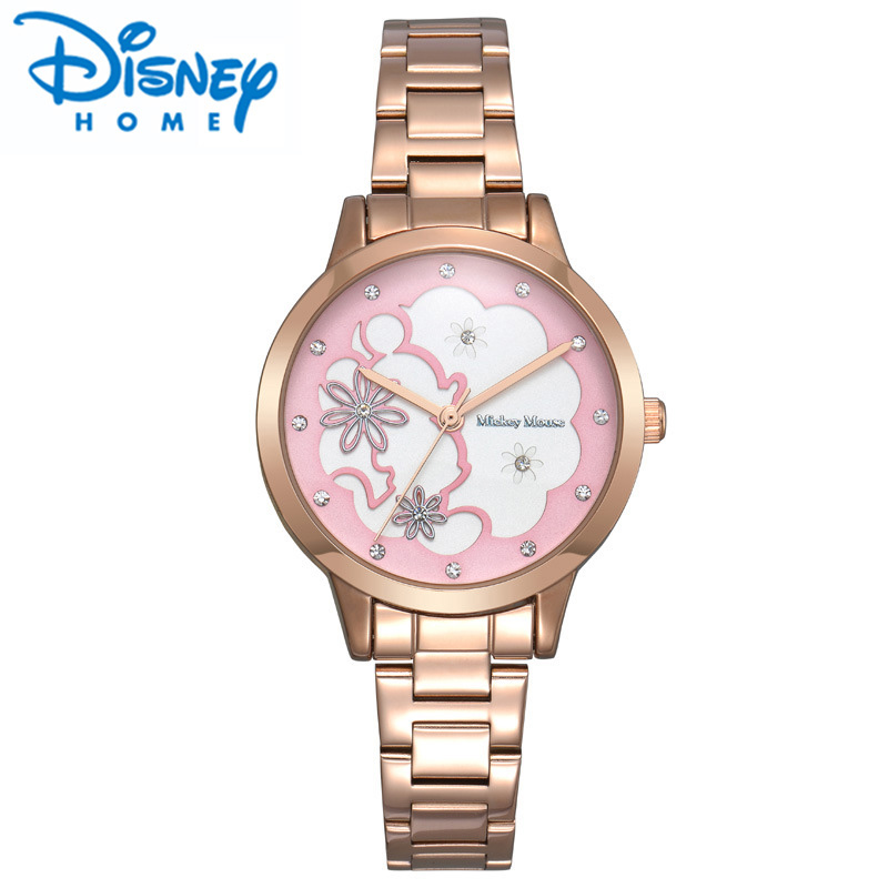 Disney Watches Women Rose Gold Quartz Wrist Watch for Woman Stainless Steel Hour Women Luxury Watches Reloj Mujer montre de luxe<br>