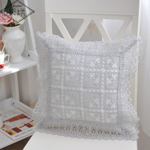 Home Xmas Decorative Floral Style  Lace Trimmings Thick Square Embroidered Pillow Case