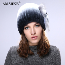AMSIIKE Women Fur Hat 2017 Winter Real Rex Rabbit Fur With Silver Fox Fur Cap Flower Pattern Knitted Patchwork Beanie Hats TM709(China)
