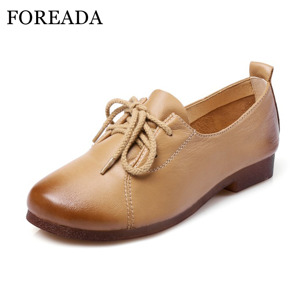 FOREADA Genuine Leather Shoes Women Flats Round Toe Lace Up Oxfords Shoes Real Leather Casual Boat Shoes Brown Pink Size 34-40<br>