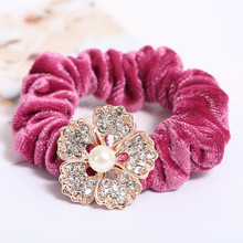 9 Colors Fashion Women Gilrs Velvet Hair Ties Rhinestones Simulated-pearl Flower Hair Band Quality Velvet Hair Accessories