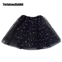 Kids Girl Star Glitter Dance Tutu Skirt Sequin With 3 Layers Tulle Tutu Toddler Girl Chiffon Lace Pettiskrit Children Clothes