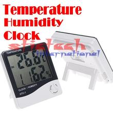 by dhl or ems 50 pieces New 3 in 1 Digital Humidity Temperature Tester Hygrometer Thermometer Clock #8377(China)