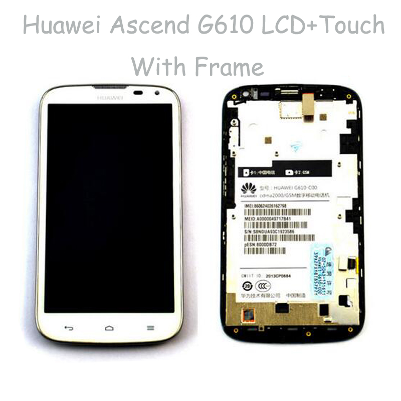 White LCD Display + Touch Screen Digitizer Glass Sensor Full Assembly With Frame for Huawei Ascend G610<br><br>Aliexpress