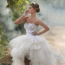 2015 New Designer High Low Strapless Appliqued Beaded Sleeveless Tiered Puffy Short Front Long Back Wedding Dresses