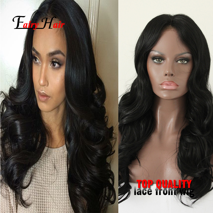 7A Glueless Synthetic Lace Front Hair Wigs Natural Black Brazilian Body Wave 180% High Density Lace Hair Wigs For Black Women<br><br>Aliexpress