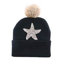 3-12 year old children cheap promotion winter hat rhinestone style girl boy brand beanies thermal outdoor child kid skullies cap
