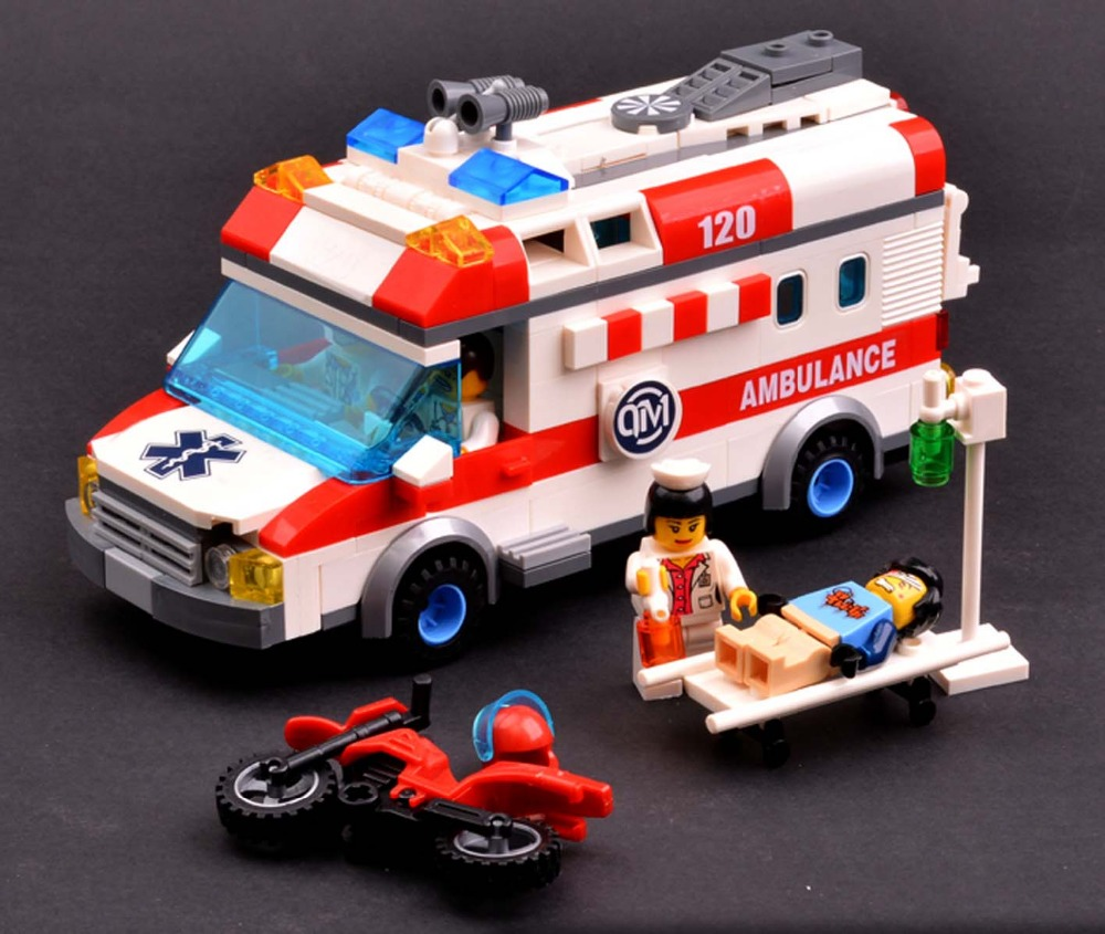 Artificial ambulance car toy cars  120  child puzzle plastic  assemble block car model  toys<br>
