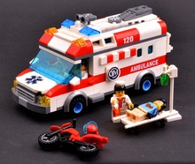 Artificial ambulance car toy cars 120 child puzzle plastic assemble block car model toys(China)