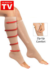 NEW 1pair Zip Sox Compression Socks Zipper Leg Support Knee Stockings Open Toe(China)