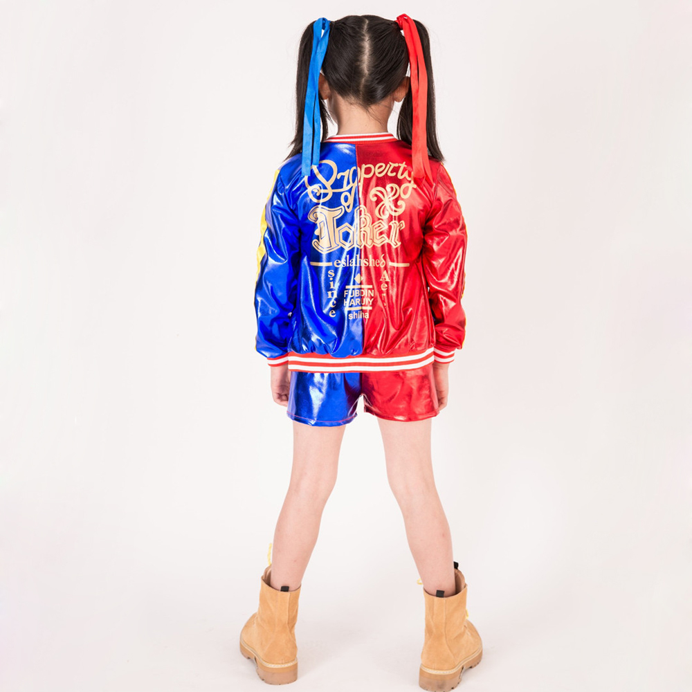2018 Girls Suicide Squad Costume Harley Quinn Coat Shorts Top Set Halloween  Cosplay Costume Suit For Kids   Holiday Giftr