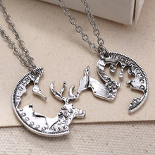 2Pcs Unisex Lover's Vintage Silver Tone Deer Camel Charm Pendant Chain Necklace(China)
