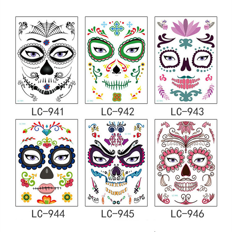 15pcs Mask Temporary Tattoos Stickers Day of The Dead Skull Face ...