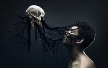 man skull hair digital art fantasy dark horror art skull 5 Sizes Wall Decor Canvas Painting Poster Print Wall Pictures