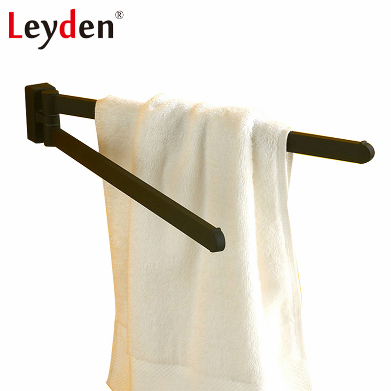 Leyden Hot SUS 304 Stainless Steel Towel Holder Black Towel Rack Wall Mounted Rotating Towel Tack Towel Bar Bathroom Accessories<br>