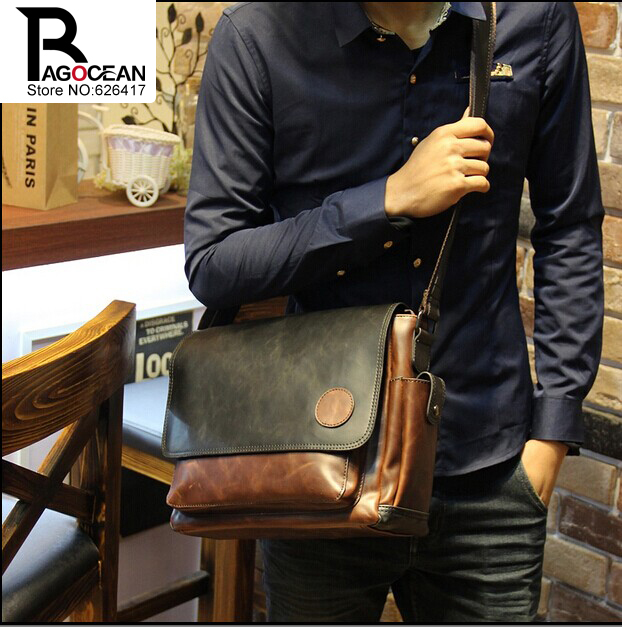 New Vintage Style Men Crazy Horse PU Leather Shoulder Travel Bags Cross Body Messenger Bags Students School Bag Casual Bags<br>