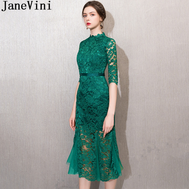JaneVini Vintage Green Lace Evening Party Dress with Half Sleeves Long Tea-Length Mermaid Dinner Gown Mother of the Bride Dress