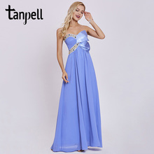 Tanpell strapless beading evening dress lavender floor length sleeveless backless pleated gown formal prom long evening dresses