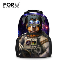 2016 Cool Campus Boys Travel Backpack 3D Animal Rottweiler Dog Printing Backpack for Men Large Leopard Backpack Rucksack