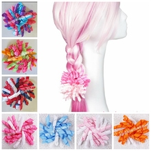 "20pcs Random 4"" prints dot Curlies loop Ribbon Korker hair bows clips Girl Corker hair bobbles Accessories PD007(China)"