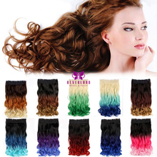Neverland 22inch Three Colors Ombre Hair Extension Wavy Clip In Hair Extensions Triple Body Wave Bunte Dip Dye Rainbow Hairpiece