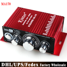 Free Fedex DHL 40pcs/lot MA170 Mini 2-Channel Hi-Fi Stereo Amplifiers 12V CD DVD MP3 Audio Speakers for Car Motorcycle(China)