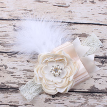 Ivory Flower hairband Girls Lace Feather Headband Shabby Chic Vintage Headbands for photo prop Hair Accessories(China)