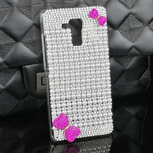 Hot Selling New Luxury Pearls White Crystal Diamond Handmade Bow Hard Cover for Huawei Honor 5X 5C 4C 4X 4A V8 7I Case Accessory