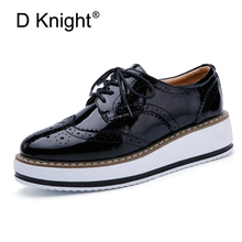 Buy Retro Oxfords Women Lace Brogue Shoes Patent Leather Flats Platform Shoes Woman British Style Female Footwear Big Size 40 for $29.29 in AliExpress store