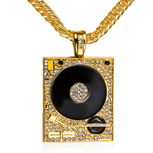 DJ Phonograph Big Pendant Necklace Men Jewelry Hiphop Chain Gold Silver Color Music Hip Hop Rock Rap Necklaces Mens Jewellery