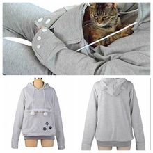 Cute Cat Hoodies With Cat Cuddle Pouch Mewgaroo Nyangaroo Dog Pet Hoodies For Casual Unisex Kangaroo Hoodies Ears Sweatshirt 3XL