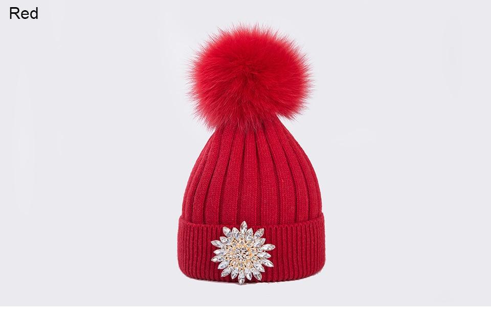 Ralferty Women's Real Fox Pompom Hat Knitted Rabbit Skullies Winter Hats For Women Big Flower Crystal Beanies Black Cap bonnet 11
