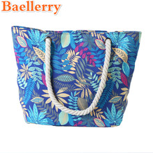 Baellerry 2017 New Design Women Canvas Beach Bags Maple Leaves Pattern Shoulder Bags Women Large Messenger Totes Shopping Bags
