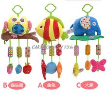 Baby Rattle Ring Bell Baby plush Owl elephant fish 3 style lathe hanging Musical Baby toy for bed Stroller car(China)