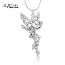 My Shape Tinkerbell Fairy Angel Jewelry Clear Rhinestone Necklace Crystal Wings Silver Plated Pendant for Teen Girls And Women(China)