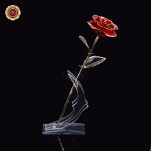 WR Valentine's Day Gifts Gold Plated Rose Flower Romantic 24k 999.9 Gold Plated Preserved Real Red Flowers for Best Gifts(China)