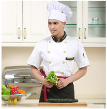 new Fashionable Unisex Double-breasted Chef's Uniform,Short sleeve Chef Jackets Chef Kitchen Work Wear Chef service Gilt buttons